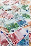 Euro banknotes and Czech crowns. Currencies from the European Union and the Czech Republic Stock Photo