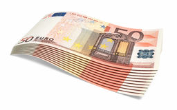 50 Euro banknotes. 3d render Fifty Euro banknotes close-up ( on white and clipping path Stock Photos