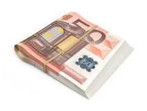 50 euro banknotes. 3D render Fifty Euro banknotes stacks isolated and clipping path Royalty Free Illustration