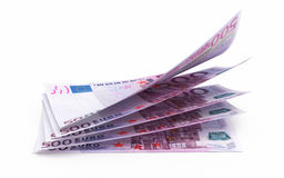 500 euro banknotes. 3d render Five hundred euro banknotes ( on white and clipping path Royalty Free Stock Photo