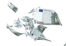 5 euro banknotes. 3d render Fly 5 euro banknotes close-up (isolated on white and clipping path vector illustration