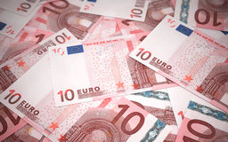 10 euro banknotes. 3d render 10 euro banknotes stacks (depth of field Stock Illustration