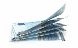 20 Euro banknotes. 3d render Twenty Euro banknotes close-up (isolated on white and clipping path Stock Photo