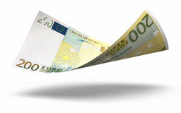 200 euro banknotes. 3d render Two hundred euro banknotes close-up ( on white and clipping path Stock Photography