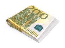 200 euro banknotes. 3d render Two hundred euro banknotes stacks isolated and clipping path Stock Image