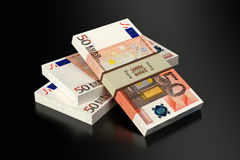 50 Euro banknotes. 3D rendering of 50 Euro banknotes on black glossy surface stock illustration
