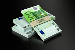 100 Euro banknotes. 3D rendering of 100 Euro banknotes on black glossy surface stock illustration