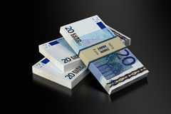 20 Euro banknotes. 3D rendering of 20 Euro banknotes on black glossy surface Royalty Free Stock Images