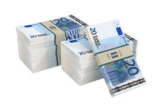 20 Euro banknotes. 3D rendering of 20 Euro banknotes isolated on white royalty free illustration