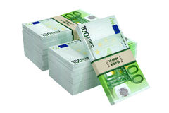 100 Euro banknotes. 3D rendering of 100 Euro banknotes isolated on white stock illustration