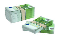 100 Euro banknotes. 3D rendering of 100 Euro banknotes isolated on white Royalty Free Stock Photography