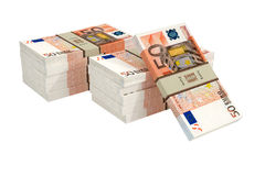 50 Euro banknotes. 3D rendering of 50 Euro banknotes isolated on white royalty free illustration