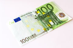 100 Euro banknotes. Euro banknotes are in denominations of 100 euros. Symbol of European currency to wealth and investment. Money of European Union Royalty Free Stock Images