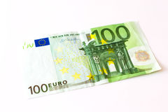100 Euro banknotes. Euro banknotes are in denominations of 100 euros. Symbol of European currency to wealth and investment. Money of European Union Royalty Free Stock Photography
