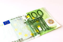 100 Euro banknotes. Euro banknotes are in denominations of 100 euros. Symbol of European currency to wealth and investment. Money of European Union Royalty Free Stock Image