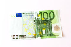 100 Euro banknotes. Euro banknotes are in denominations of 100 euros. Symbol of European currency to wealth and investment. Money of European Union Stock Image