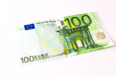 100 Euro banknotes. Euro banknotes are in denominations of 100 euros. Symbol of European currency to wealth and investment. Money of European Union Royalty Free Stock Photo