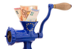 Euro banknotes while destruction in mincer Royalty Free Stock Image