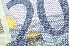 Euro banknotes, detailed on a new 20 euro banknotes Royalty Free Stock Photography