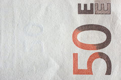 Euro banknotes, detailed on a new fifty euro banknotes Stock Photo