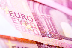 Euro banknotes, detailed text on a new ten euro banknotes. Stock Photos