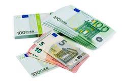 Euro banknotes of different denomination closeup Stock Photos