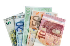 Euro banknotes with different denomination and coins Stock Photography
