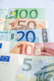 Euro banknotes with different denomination Stock Photography