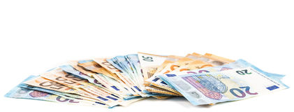 Euro banknotes with different denomination. Royalty Free Stock Photography
