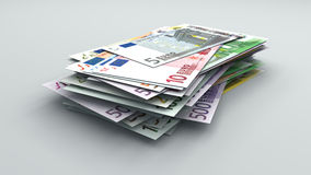 Euro banknotes of different values. Stack of bills Stock Image