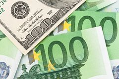 Euro banknotes and dollar. Royalty Free Stock Photo