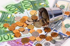 Euro banknotes, dollars and bucket with Russian money Stock Photos