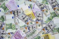 Euro banknotes and dollars randomly laid out 5 royalty free stock photos