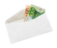 Euro banknotes in envelope. Money in envelop with clipping path Royalty Free Stock Photography