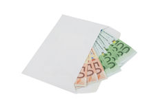 Euro banknotes in an envelope over white Stock Photography