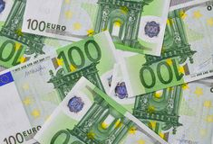 Euro banknotes 100 EUR. 100 Euro bills banknotes money. European Union Currency Stock Photo