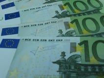 100 Euro banknotes. 100 Euro (EUR) banknotes - legal tender of the European Union Stock Photo