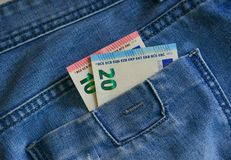 Euro banknotes EUR on the pocket stock image