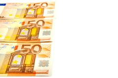 Euro banknotes. Euro banknotes isolated on a white background with copy space for text Stock Images