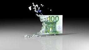 Euro banknotes is falling apart Stock Images