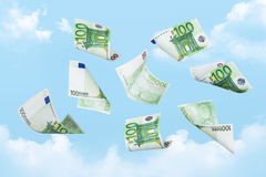 Euro Banknotes Falling Royalty Free Stock Images