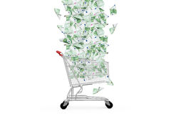 Euro Banknotes Falling Down to Shopping Cart Stock Photography