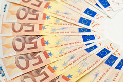 50 euro banknotes fan upside down Stock Photo