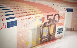 Euro banknotes Fifty. 3d render Fifty Euro banknotes close-up (depth of field Stock Photography