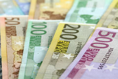 Euro banknotes. Fifty to five hundred. Shallow D.O.F Stock Photography