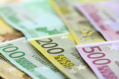Euro banknotes. Fifty to five hundred. Shallow D.O.F Royalty Free Stock Images