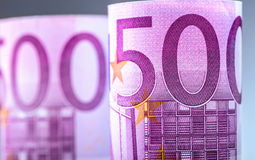 Euro banknotes. Five hundred euro banknotes.Toned Photo Royalty Free Stock Images