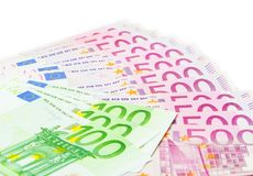 Euro banknotes, five hundred, and a hundred stock photography