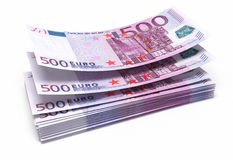 500 euro banknotes. Five hundred euro banknotes (isolated on white and clipping path Stock Photography
