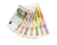 Euro banknotes from five up to five hundred. Isolated on white Stock Photo